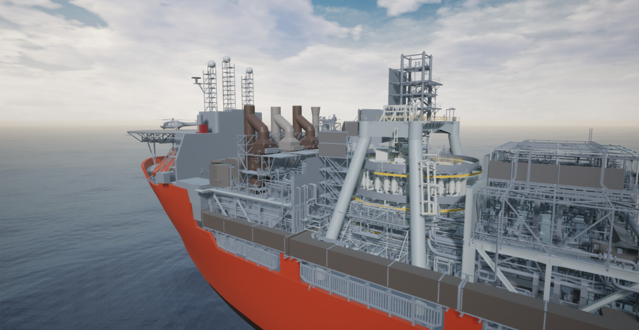 A complete digital twin of an FPSO, combining CAD, point cloud scans, robot footage, and real-time data
