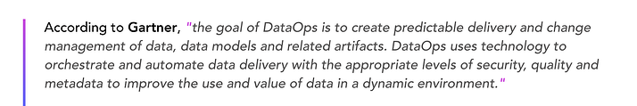 Gartner definition DataOps
