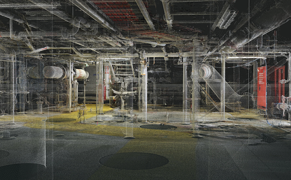 A small section of a 1TB point cloud covering a deck of an FPSO
